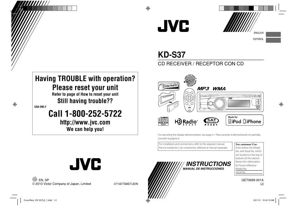 jvc kd s37 user manual 87 pages also for get0699 001a rh manualsdir com JVC Car Stereo Manuals JVC User Manual KD- G430 Motorcycle