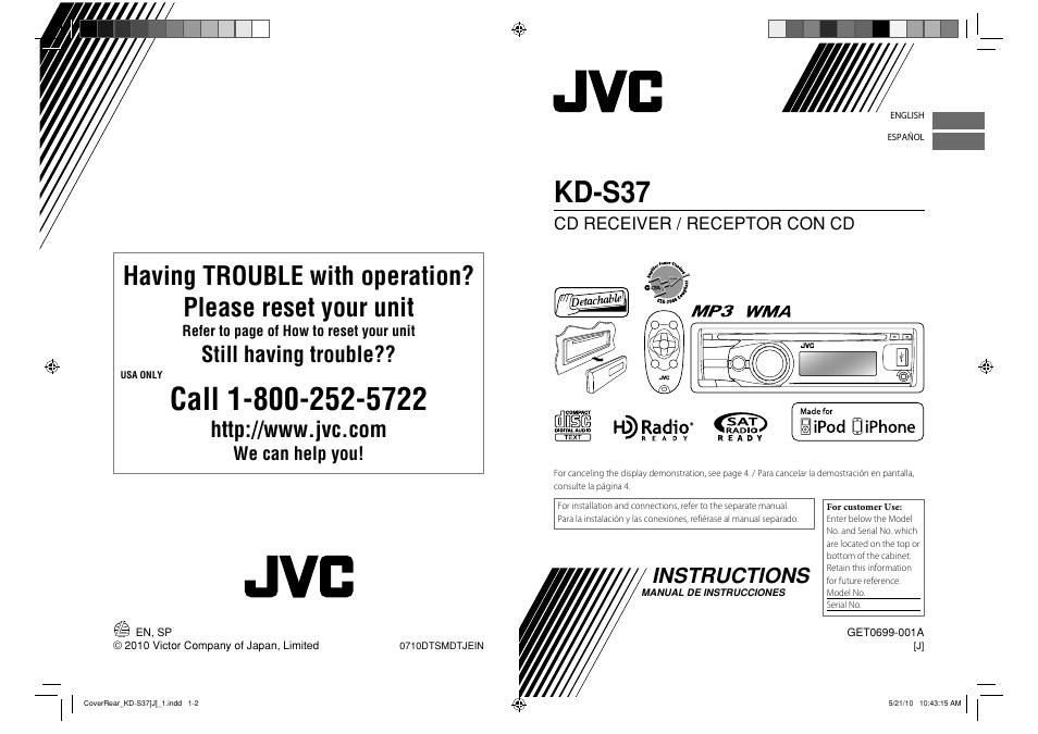 jvc kd s37 user manual 87 pages also for get0699 001a rh manualsdir com JVC Receiver JVC Radio