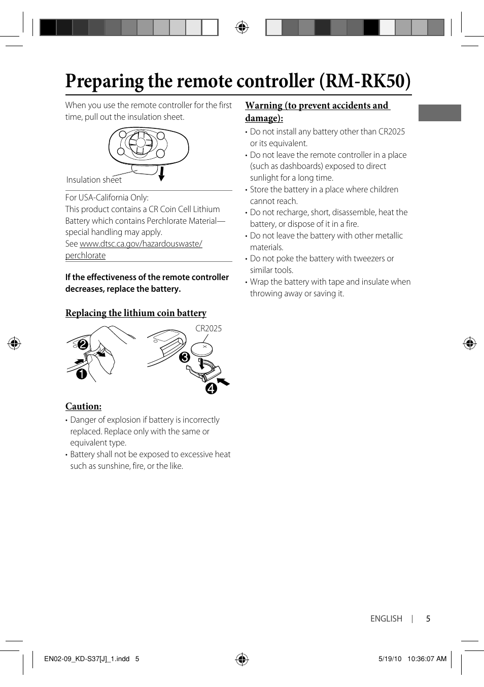 Preparing the remote controller (rm-rk50) | JVC KD-S37 User Manual
