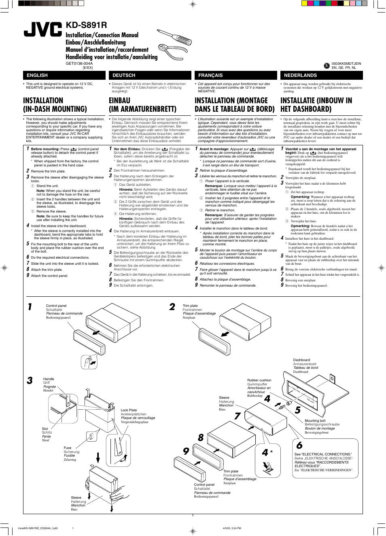 Installation/connection manual, Installation, Kd-s891r   Installation  (in-dash