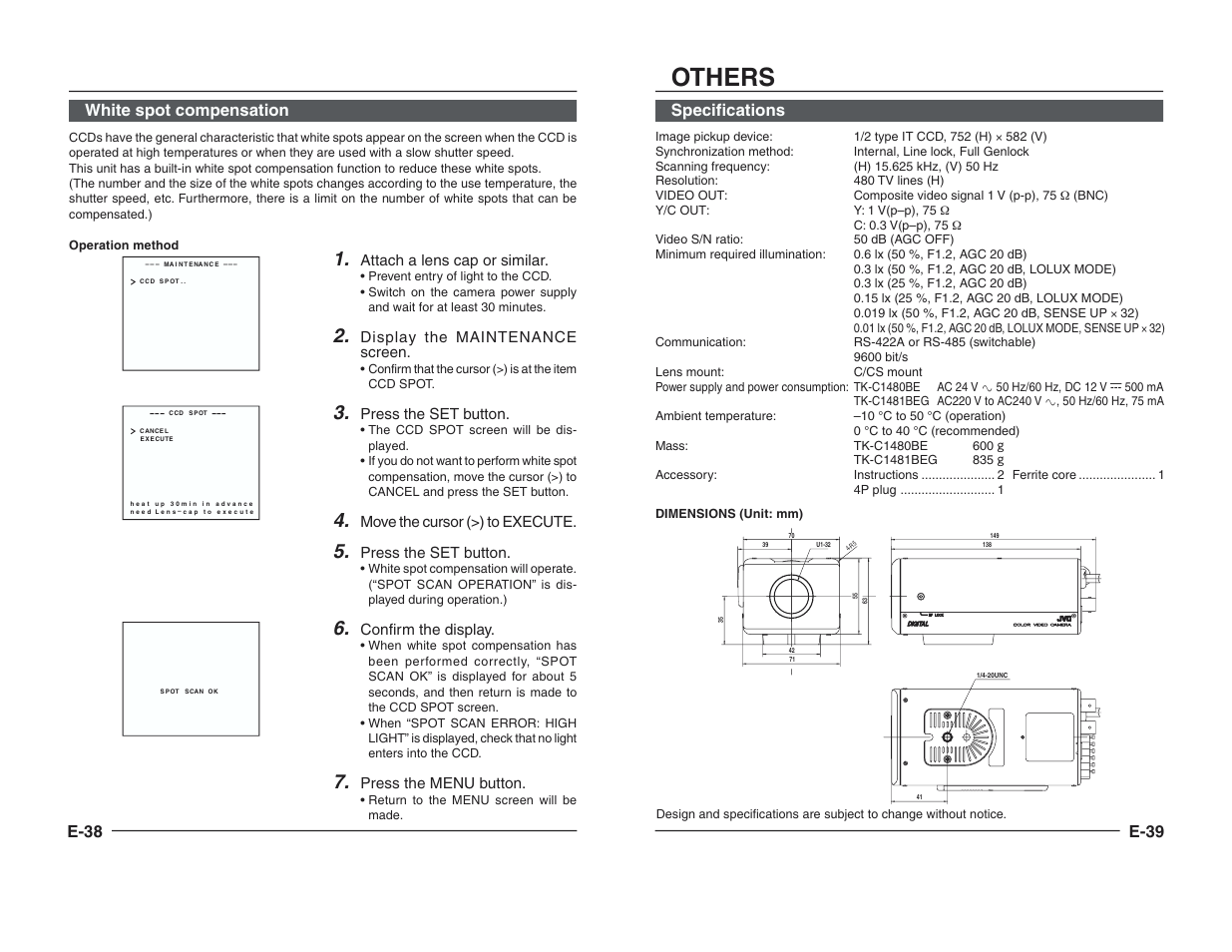 Others, E-38 white spot compensation, E-39 | JVC TK-C1460B User Manual |  Page 42 / 42