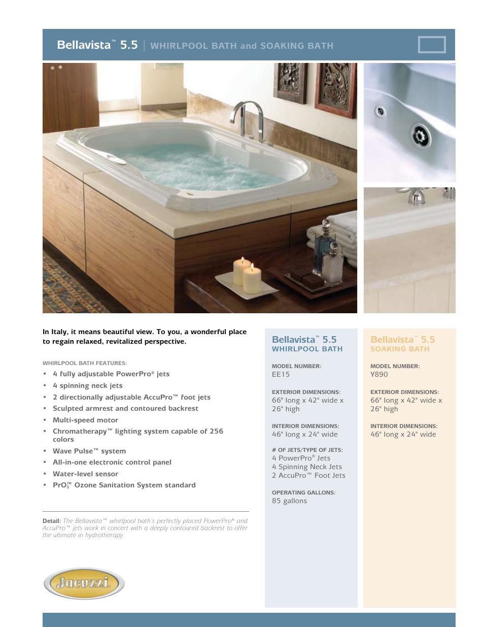 Jacuzzi Bellavista Y890 User Manual | 2 pages | Also for: Bellavista ...