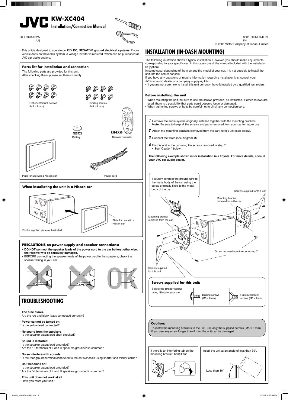Kw-xc404 installation/connection manual, Installation (in-dash mounting),