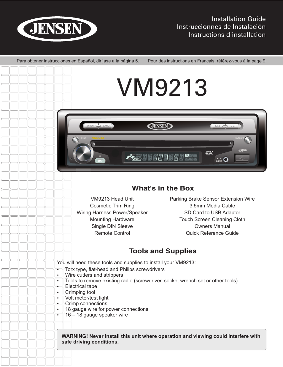jensen vm9213 page1 jensen vm9213 user manual 12 pages Ford Electrical Wiring Diagrams at webbmarketing.co