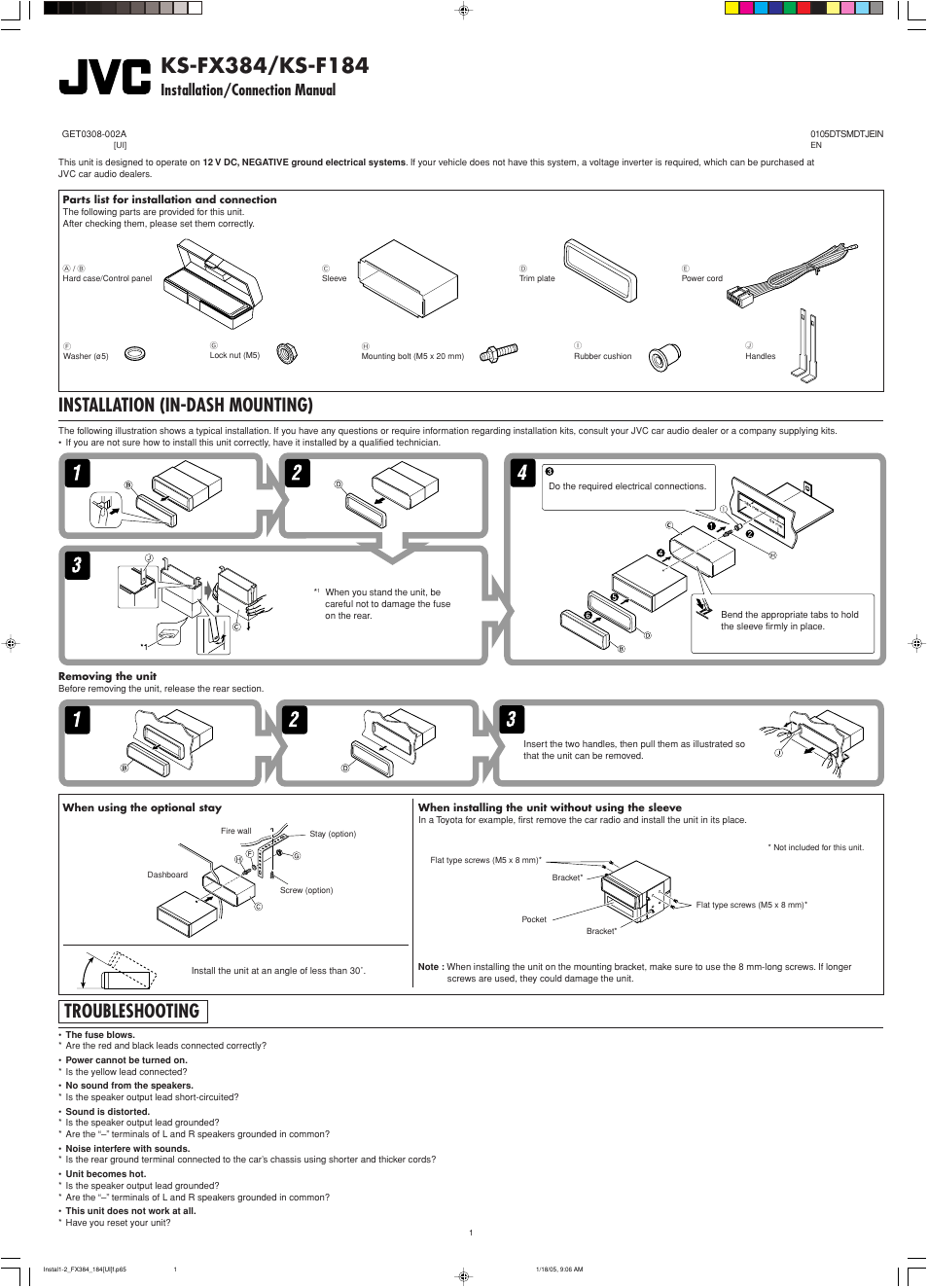 Installation/connection manual, Installation, Troubleshooting | Installation  (in-dash mounting)