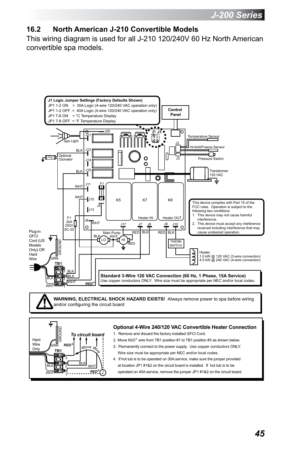 2 North American J 210 Convertible Models 200 Series Jacuzzi 3 Wire 240v Wiring Diagram 230 User Manual Page 49 60