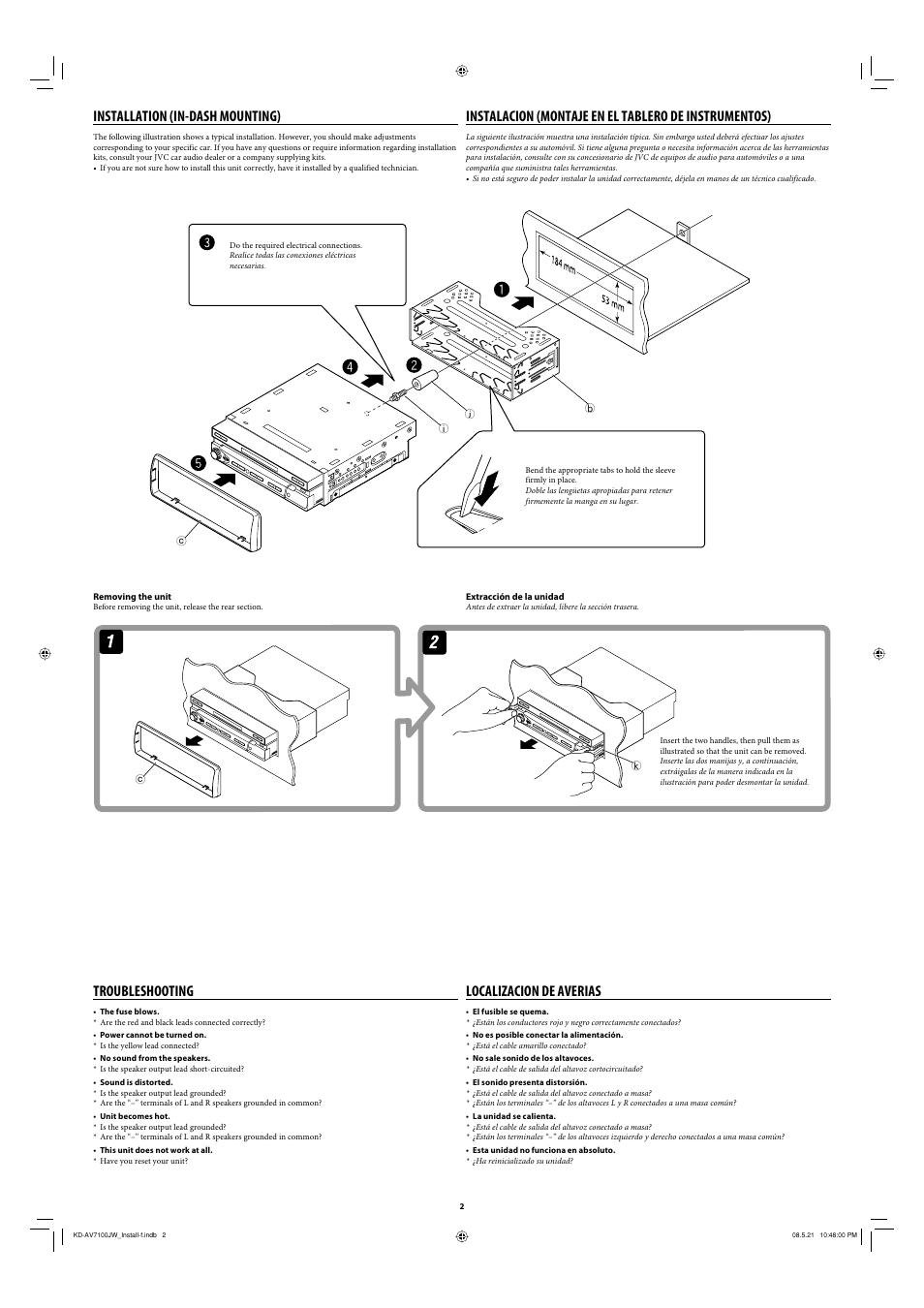 Installation (in-dash mounting), Troubleshooting, Localizacion de averias |  JVC KD
