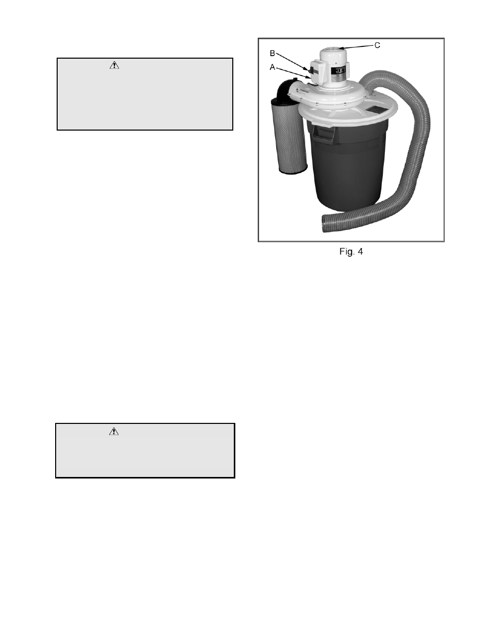 Warning | Jet Tools DC-650TS User Manual | Page 9 / 13