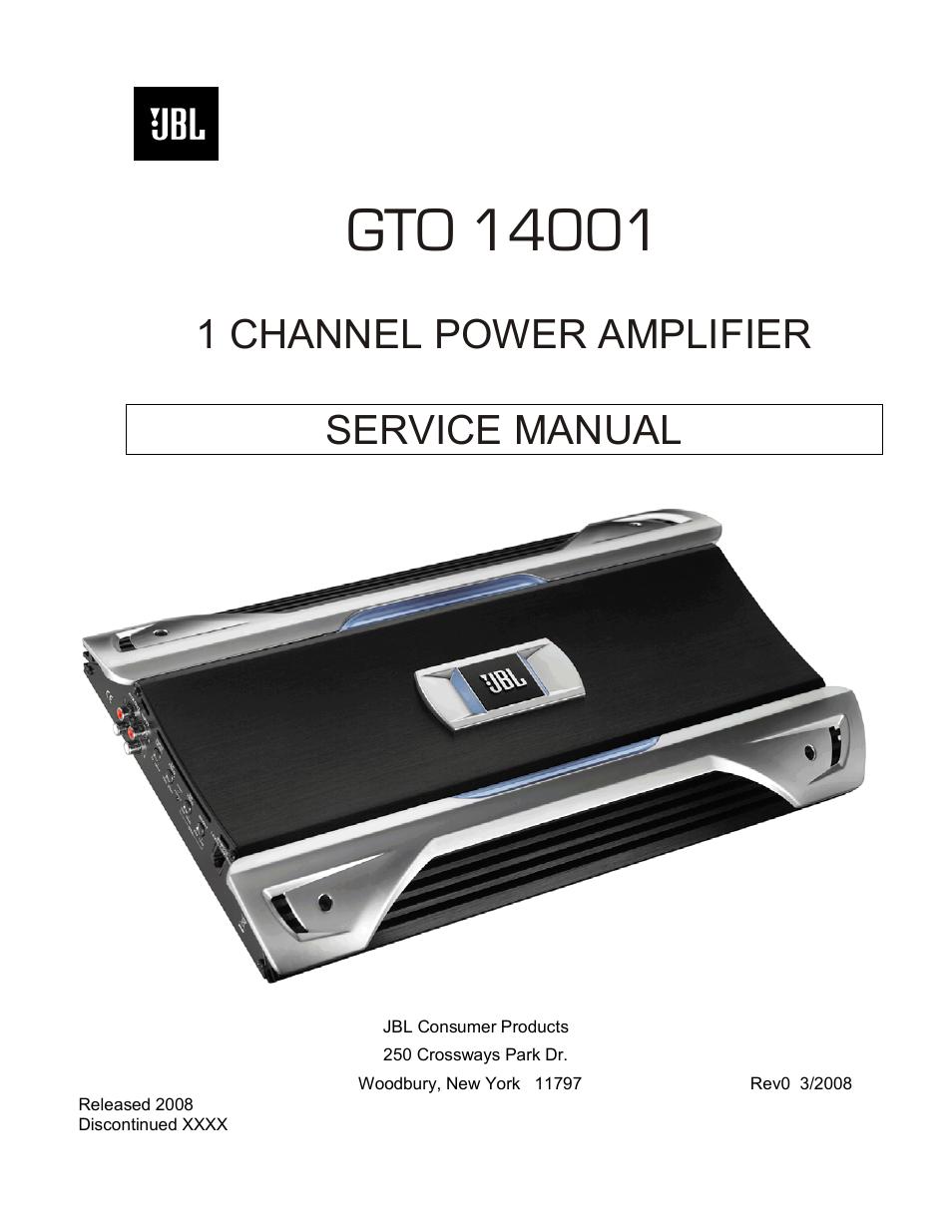 jbl gto14001 user manual 24 pages rh manualsdir com JBL Home Amplifiers jbl car amplifier service manual pdf