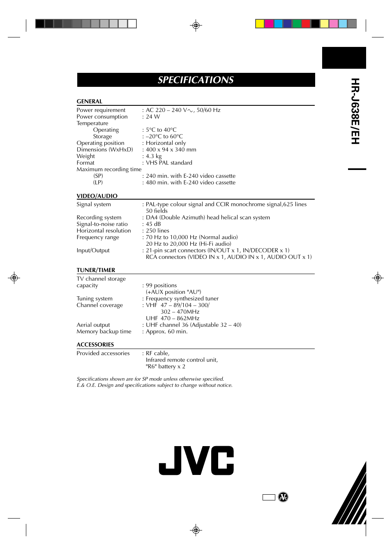 Hr-j638e/eh, Specifications | JVC HR-J638E/EH User Manual