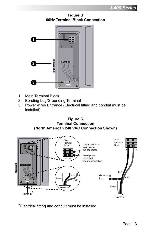 j-400 series  page 13  figure b 60hz terminal block connection