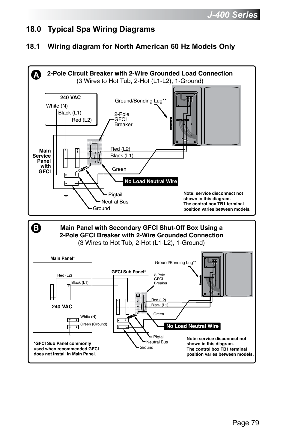 jacuzzi j 470 page85 0 typical spa wiring diagrams, j 400 series, page 79 jacuzzi j 2 pole gfci breaker wiring diagram at alyssarenee.co