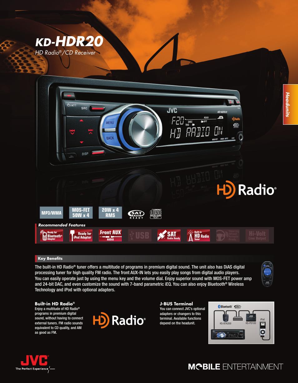 jvc kd hdr20 user manual 2 pages rh manualsdir com JVC Car Radio JVC HD Radio Add-On