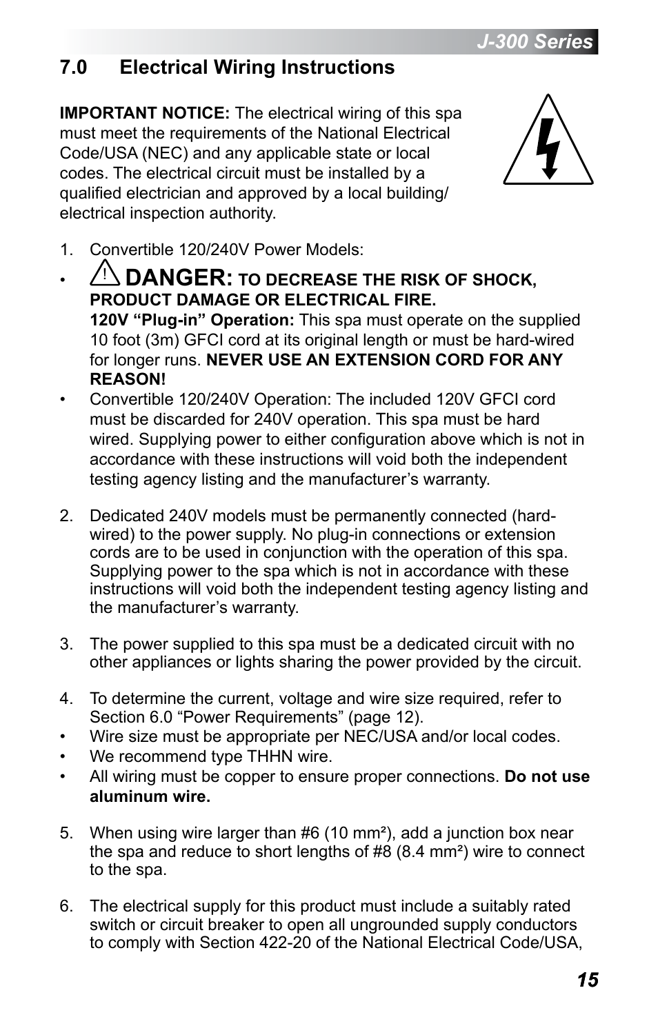 0 electrical wiring instructions, Danger | Jacuzzi J - 355 User ...