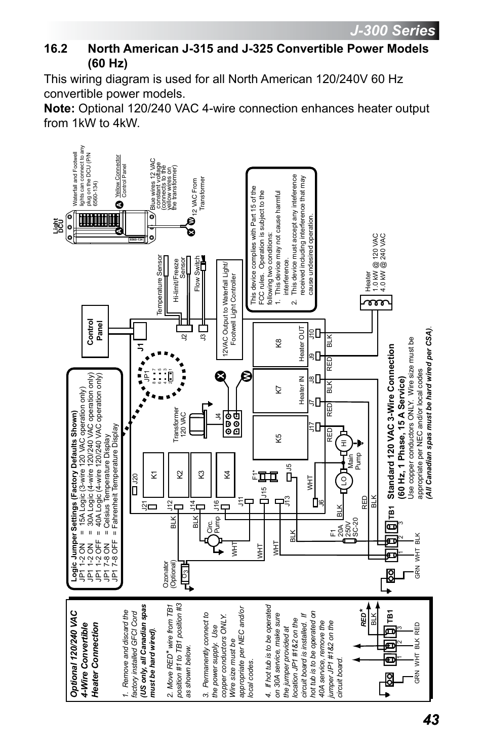 jetted tub wiring 2 north american j-315 and j-325 convertible power, models ... 50 amp hot tub wiring diagram