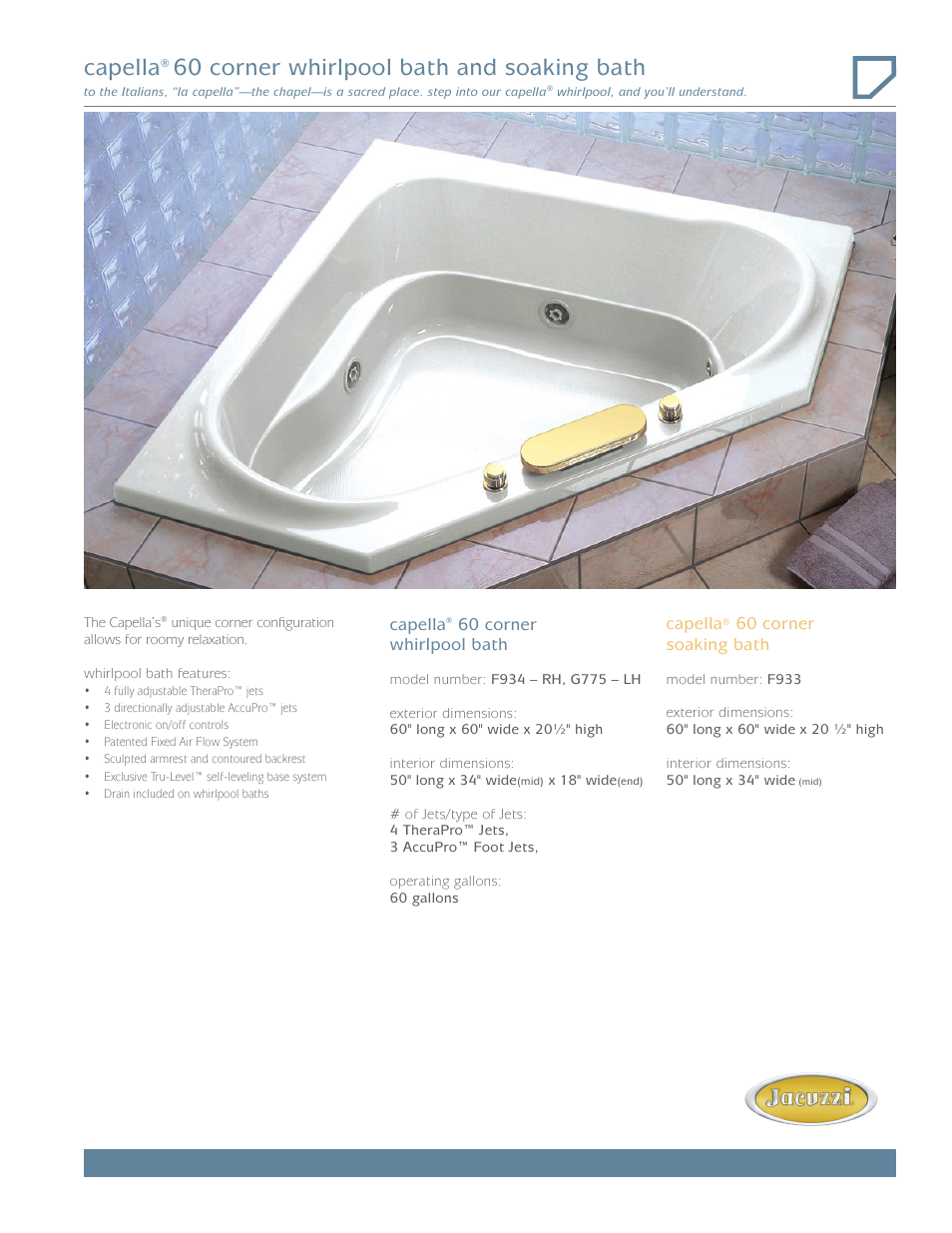 Jacuzzi Capella Whirlpool Bath G775 LH User Manual | 2 pages | Also ...
