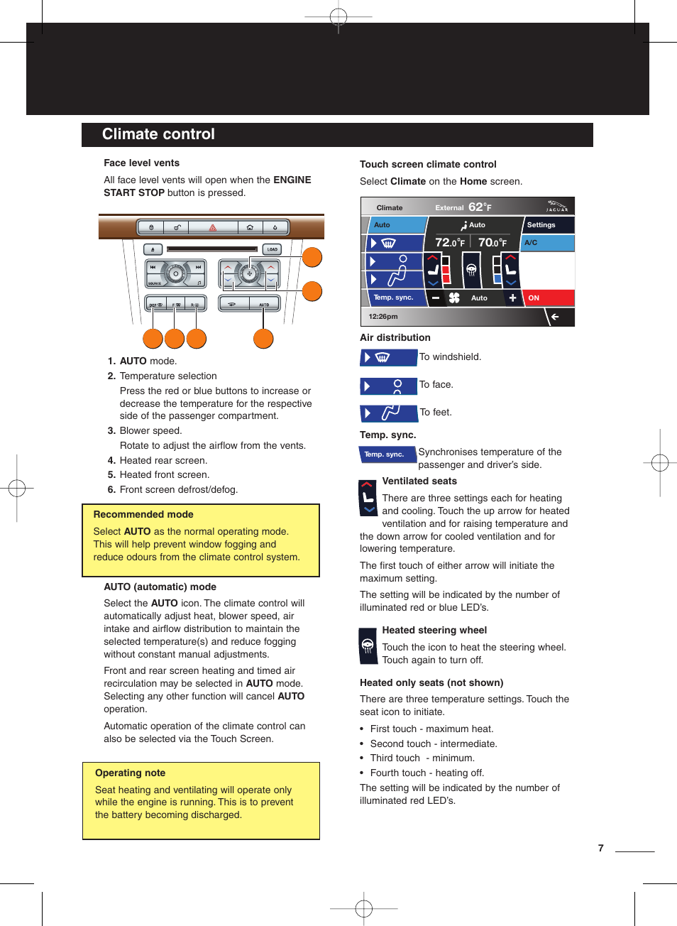 Climate control   Jaguar XF User Manual   Page 7 / 20