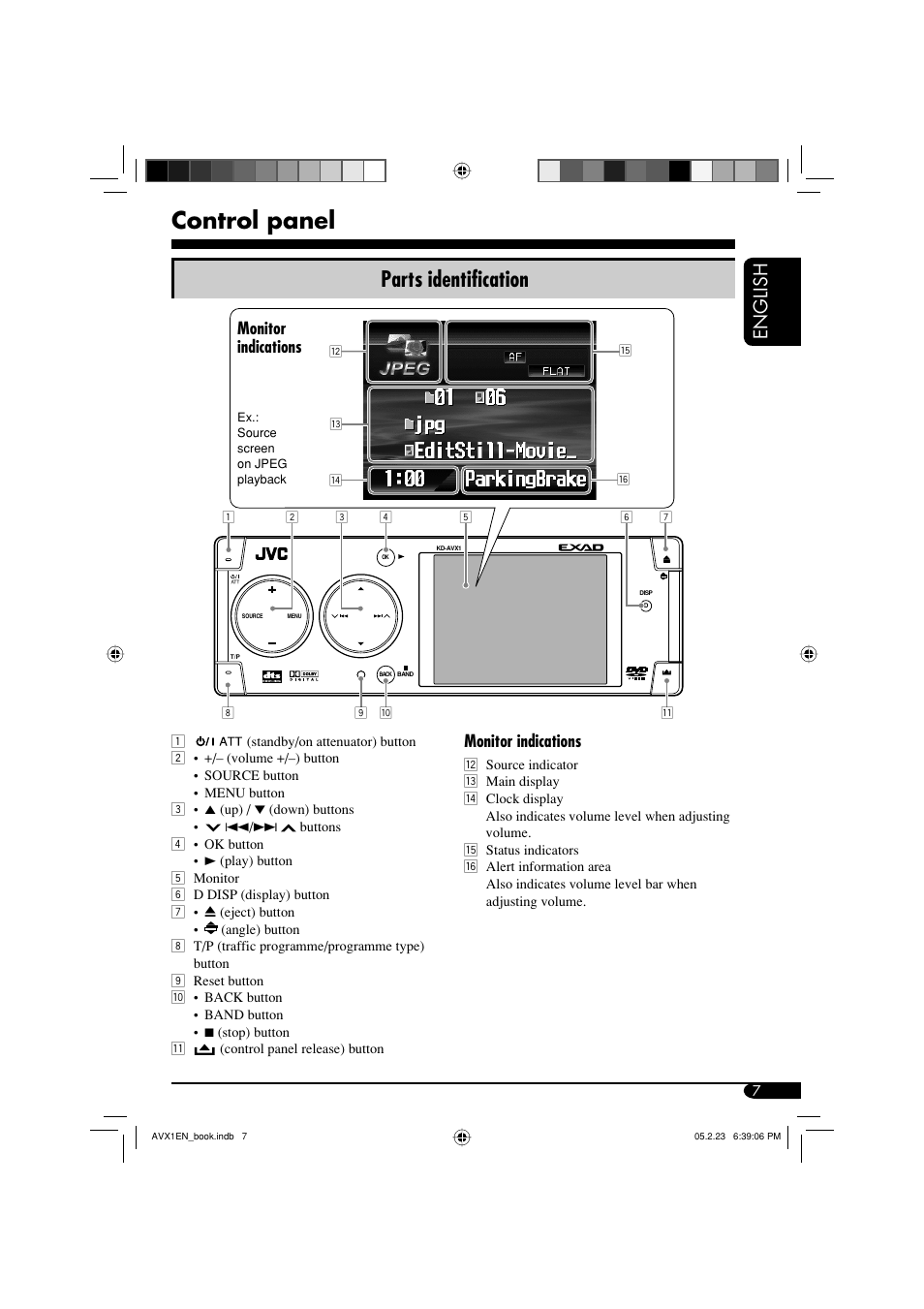 Jvc Kd Avx1 Wiring Diagram And Schematics Arsenal Control Panel Parts Identification English Monitor Indications User