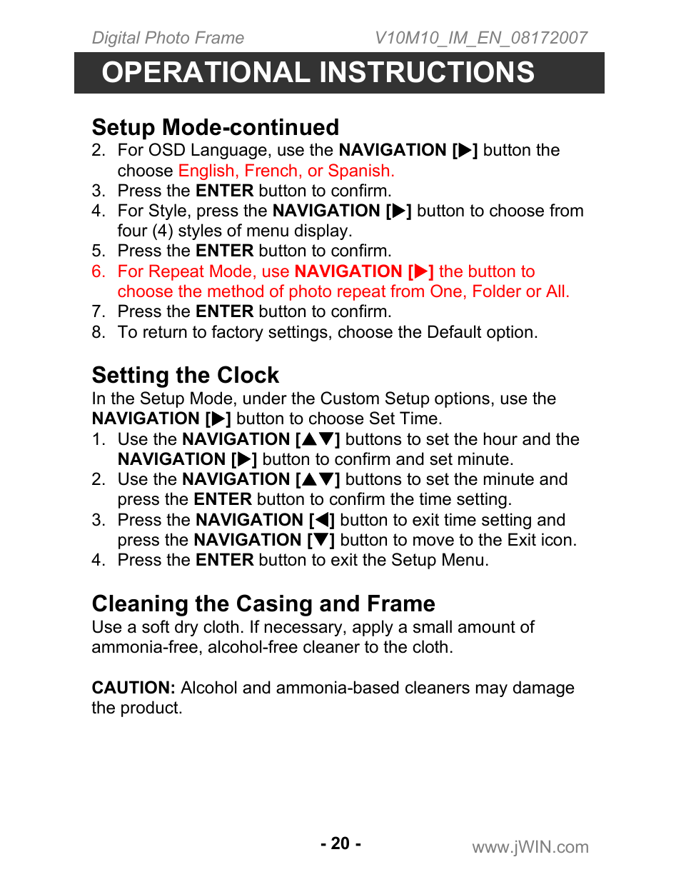 Operational instructions, Setup mode-continued, Setting the clock | Jwin  JP-147 User Manual | Page 20 / 24