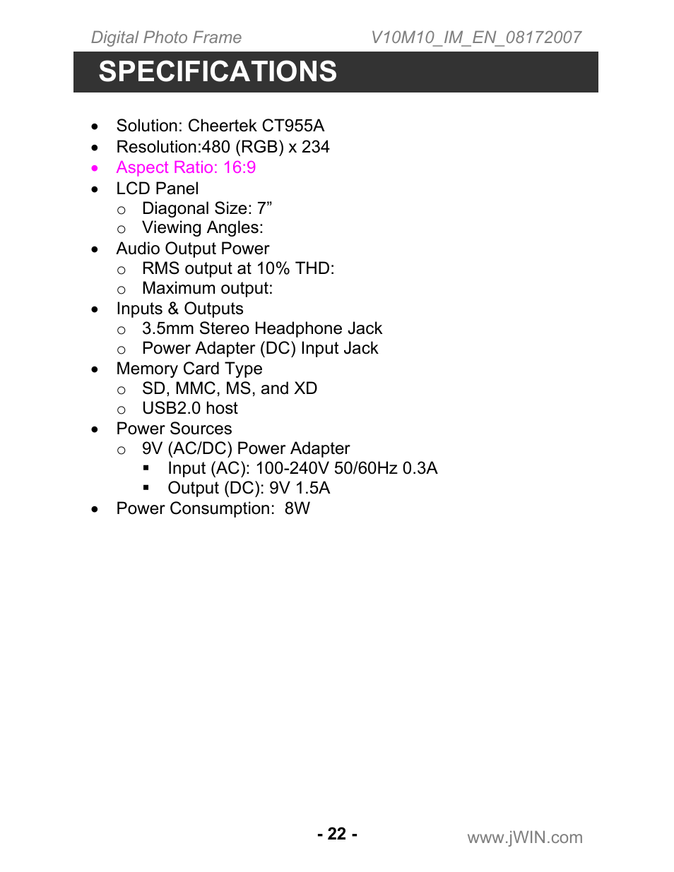 Specifications | Jwin JP-147 User Manual | Page 22 / 24