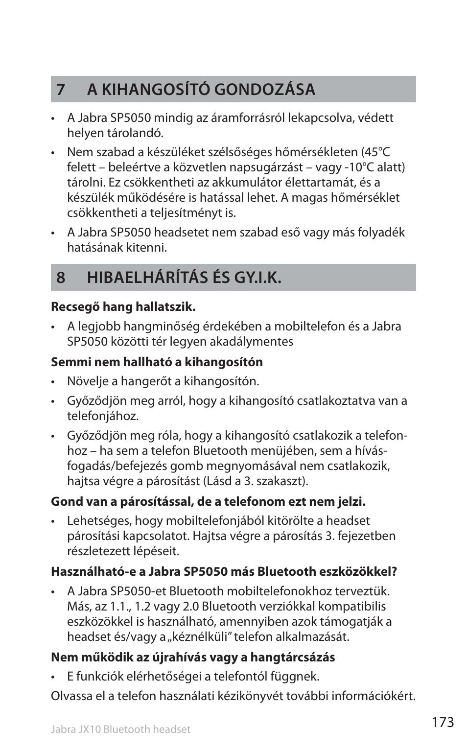 7a kihangosító gondozása, 8hibaelhárítás és gy.i.k | Jabra SP5050 User  Manual | Page 175 / 221