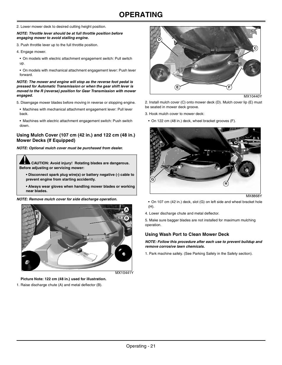 Using wash port to clean mower deck, Operating | John Deere Tractor 100  Series OMG X23532 J0 User Manual | Page 22 / 56