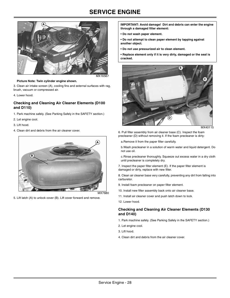 Service Engine John Deere Tractor 100 Series Omg X23532