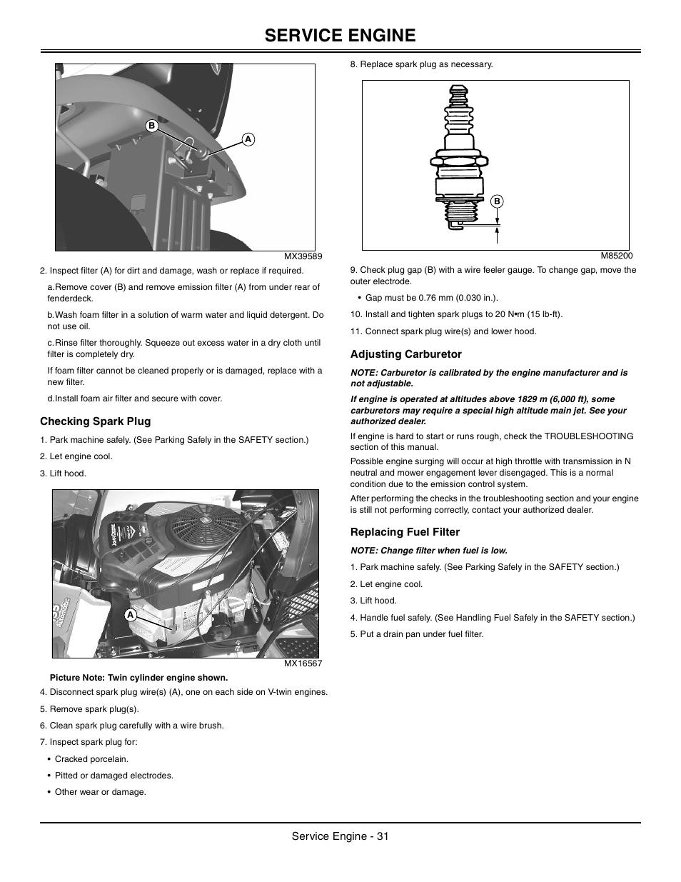 Checking Spark Plug Adjusting Carburetor Replacing Fuel
