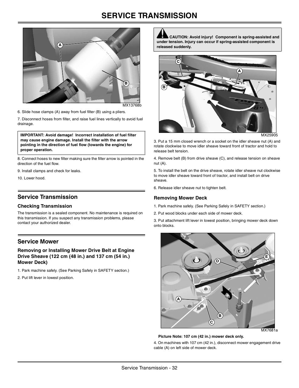 Service Transmission  Checking Transmission  Service Mower