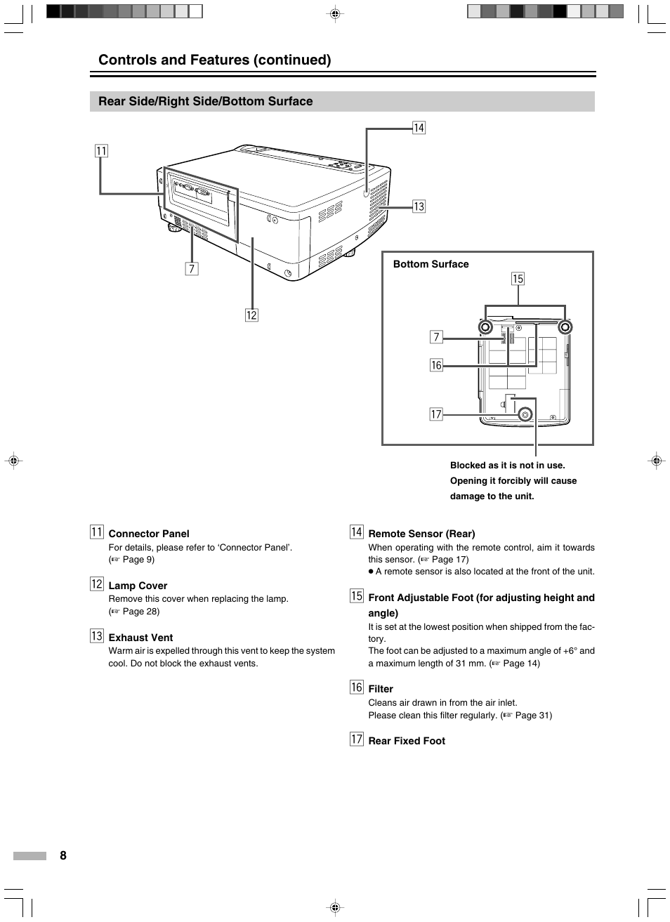 Rear side/right side/bottom surface, Qw r e 7 y 7 t u, Controls and  features (continued) | JVC DLA-HD2KE User Manual | Page 8 / 40