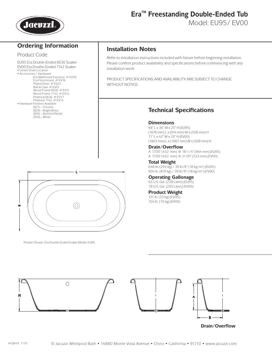 Freestanding double-ended tub, Model: eu95/ ev00, Ordering ...