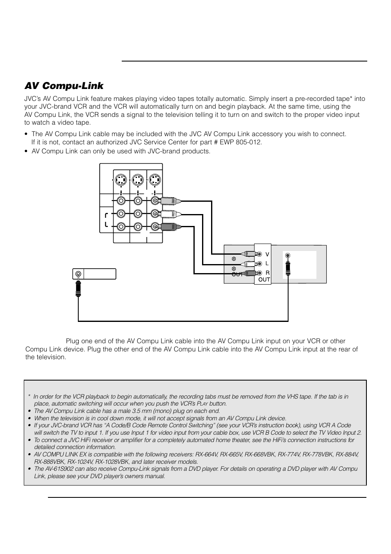 Using av compu link control system | jvc ca-mxdva9r user manual.