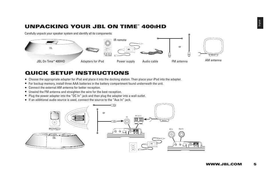 unpacking your jbl on time quick setup instructions jbl 400ihd rh manualsdir com JBL On Time Micro JBL iPod Dock On Time
