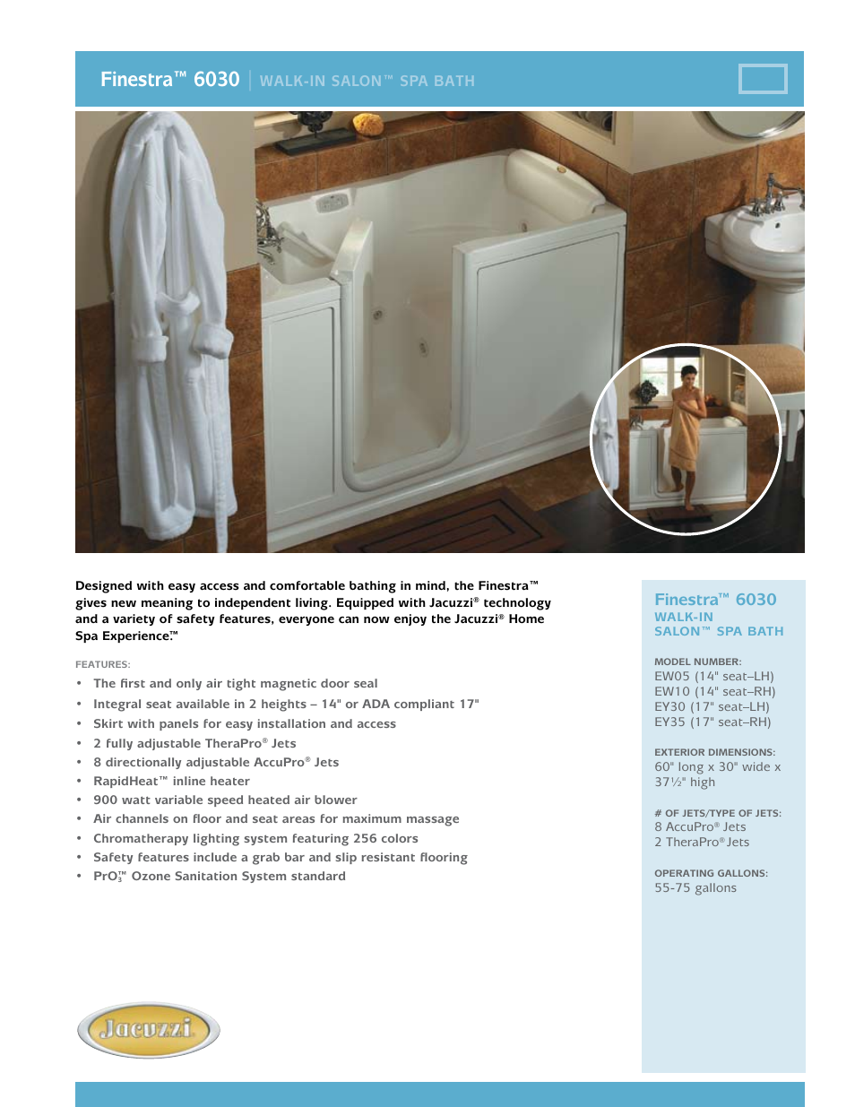 Jacuzzi Finestra Ew05 User Manual 2 Pages Also For