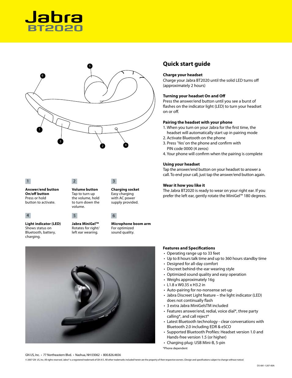 Jabra Bt2020 Quick Start Guide Jabra Bt2020 User Manual Page 2 2