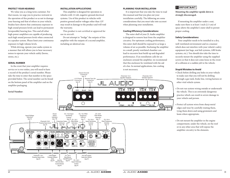 parts  controls  jl audio a4300 user manual  page 2 / 11