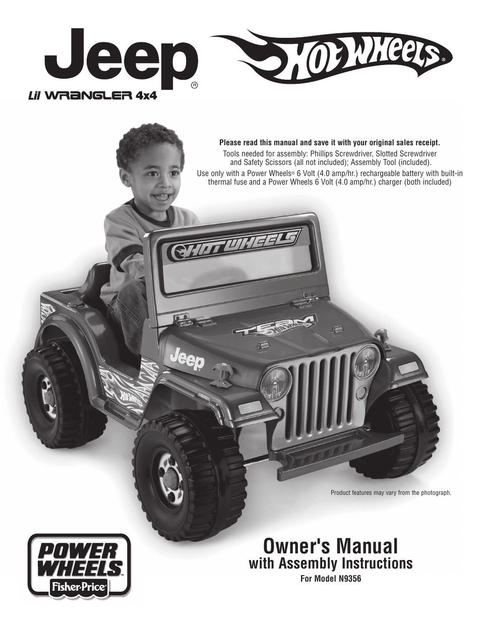 jeep hot wheels n9356 user manual 20 pages rh manualsdir com power wheels frozen jeep wrangler manual power wheels tough talking jeep wrangler manual