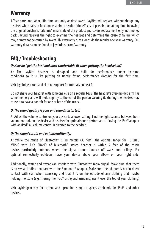 Warranty, Faq / troubleshooting | JayBird BLUETOOTH HEADPHONES JB200