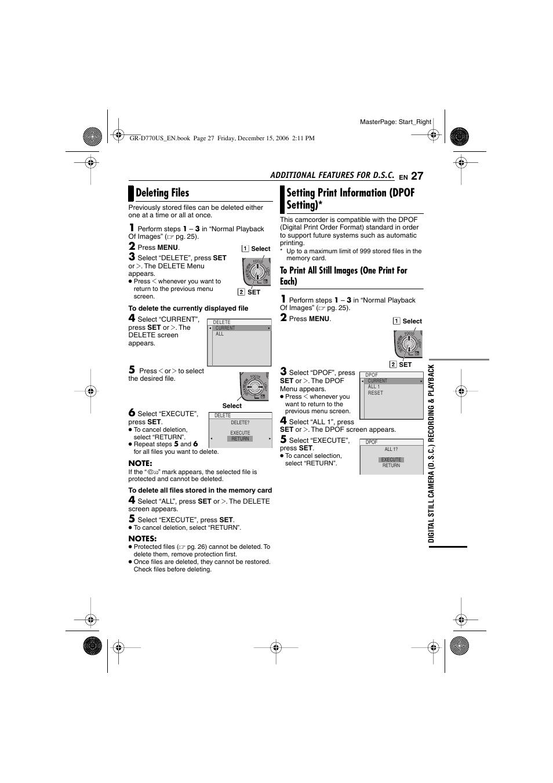 deleting files setting print information dpof setting jvc gr rh manualsdir com