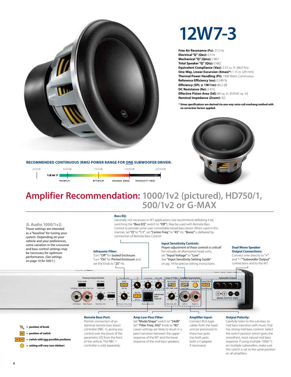 12w7 3 jl audio w7 user manual page 8 16 rh manualsdir com JL Audio 12In Subwoofer 500W JL Audio 12In Subwoofer 500W