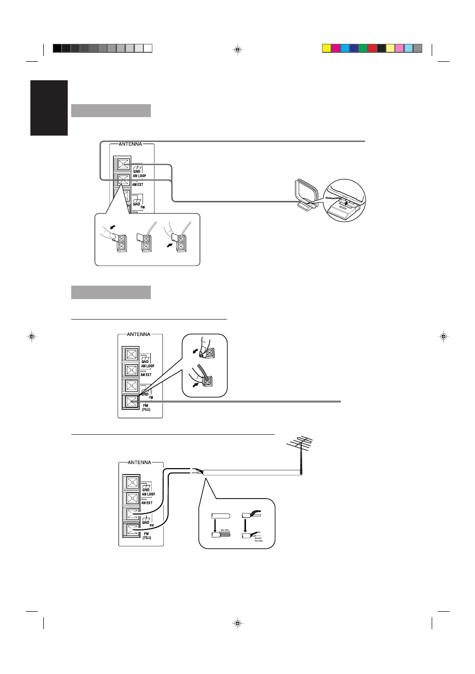 Connecting the am antenna, Connecting the fm antenna | JVC