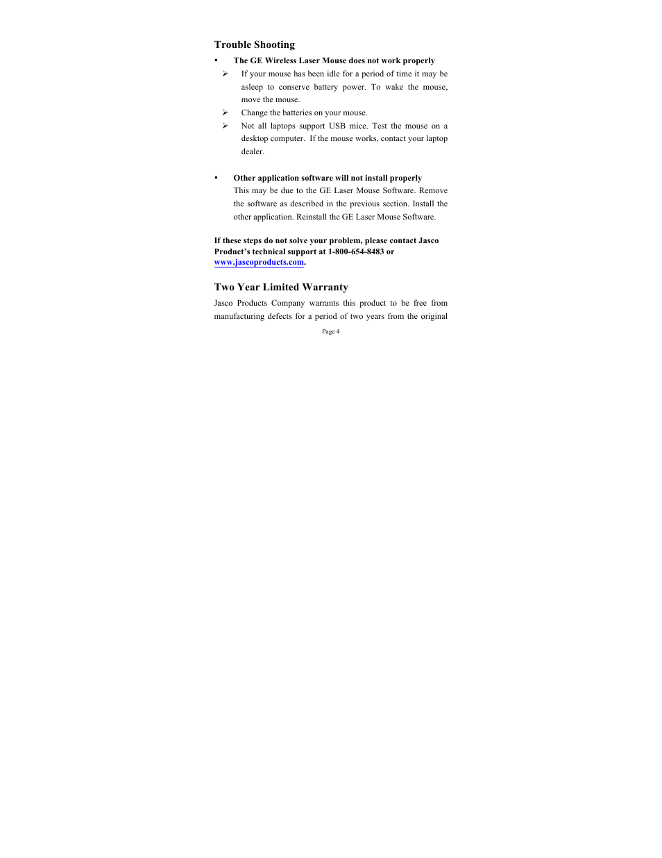 Ge Tech Support Ge 98536 Ge Wireless Laser Mouse User Manual Page 4 7