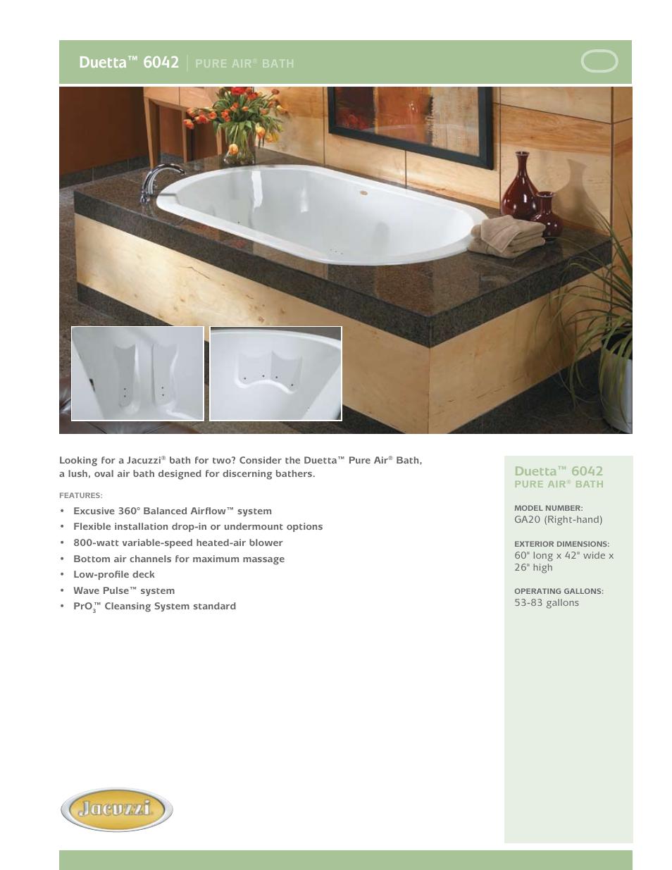 Jacuzzi Duetta 6042 Pure Air Bath GA20 User Manual | 2 pages