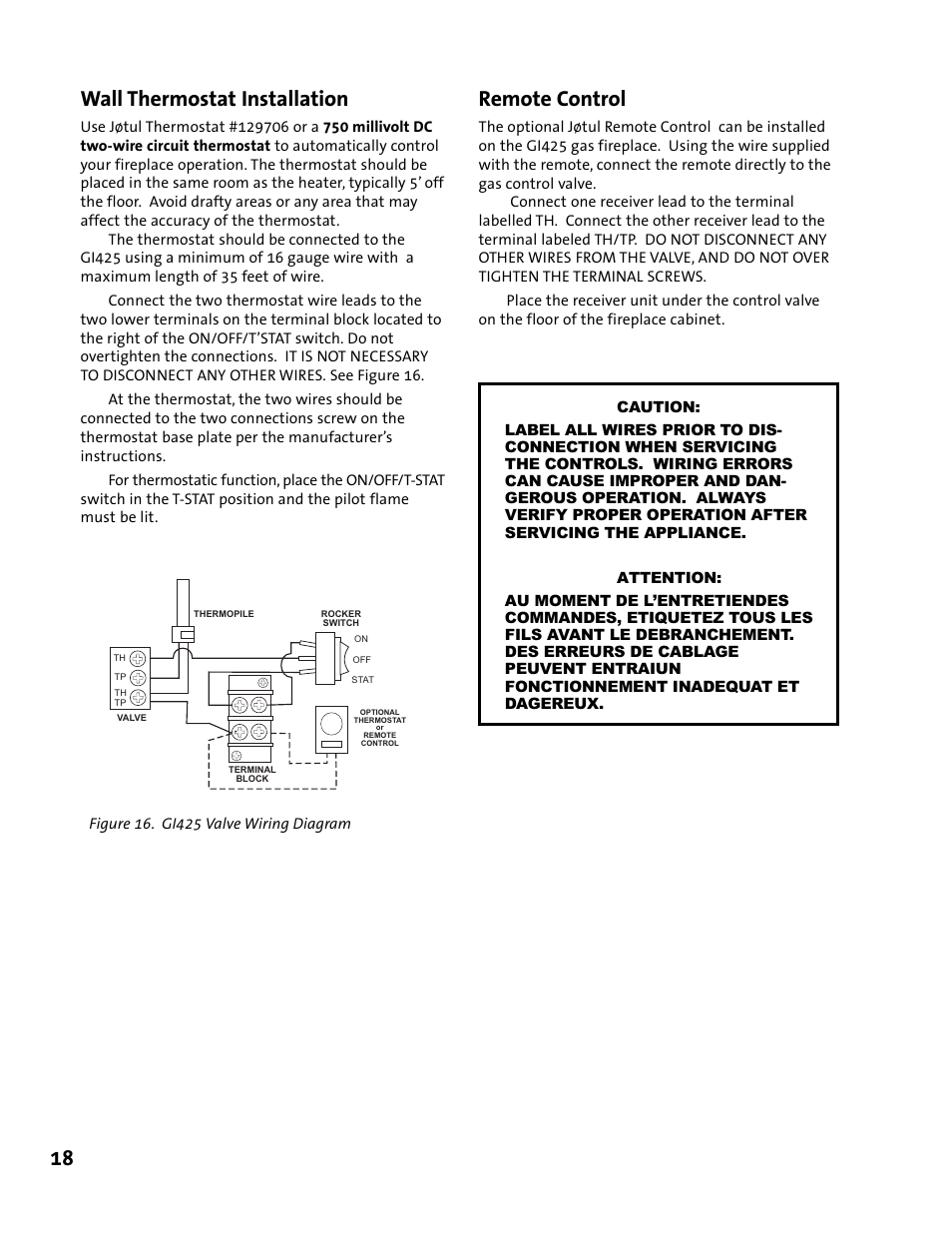 18 Wall Thermostat Installation Remote Control Jotul Gi 425 Dv Wiring A User Manual Page 32