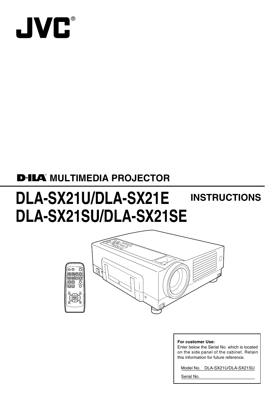 JVC DLA-SX21SU User Manual | 58 pages | Also for: DLA-SX21SE