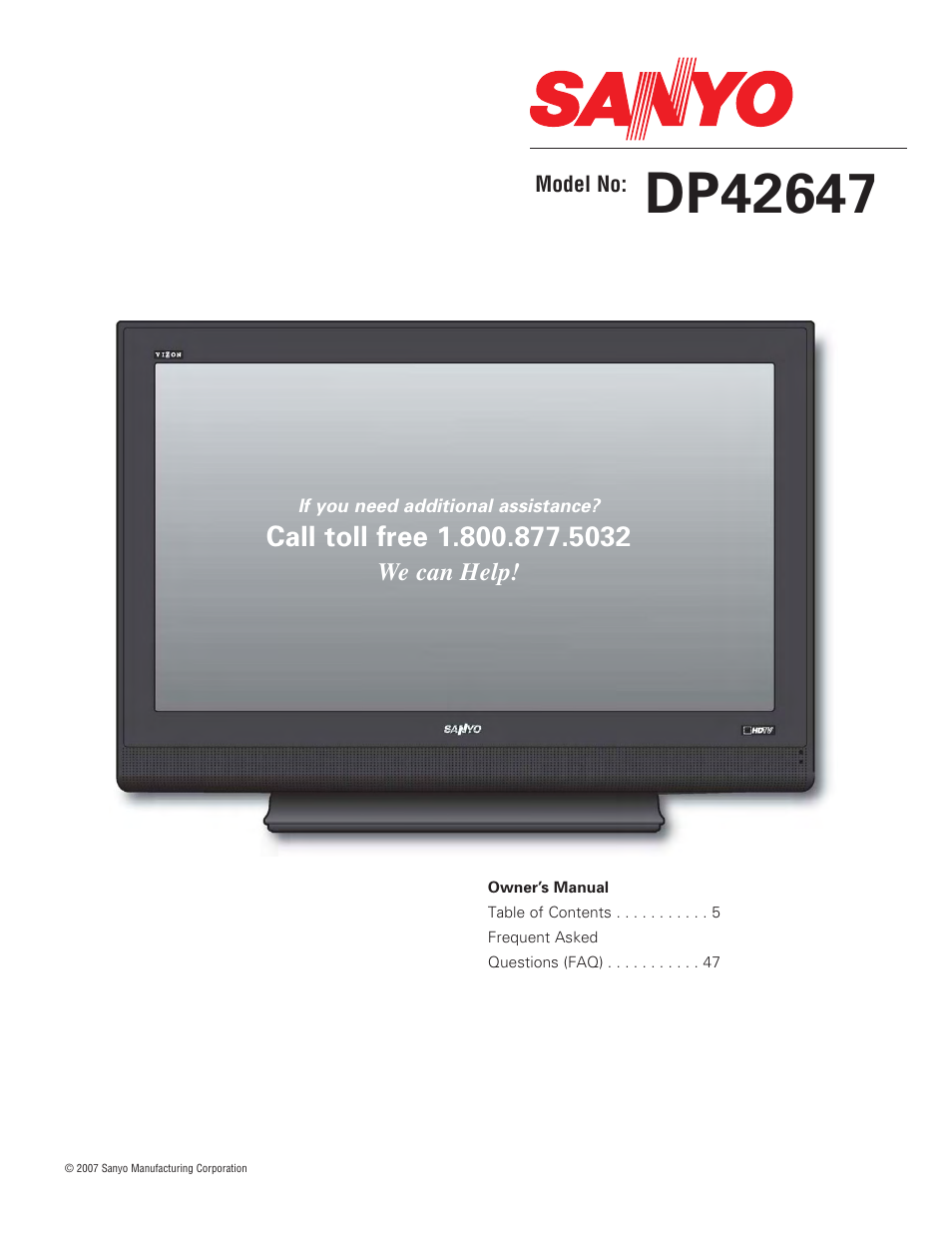 sanyo dp42647 user manual 48 pages rh manualsdir com Sanyo Flat Screen TV Manual Sanyo Repair Manual