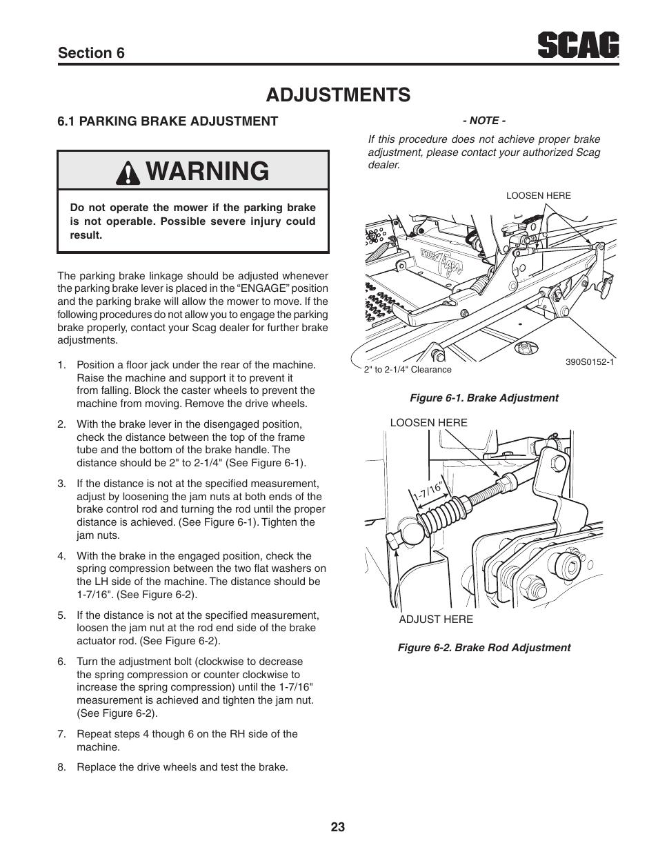 Adjustments, Section 6, 1 parking brake adjustment | Scag Power