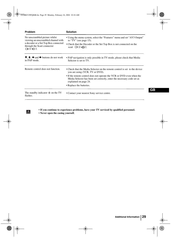 29 gb | Sony FD Trinitron WEGA KV-32FQ86B User Manual | Page