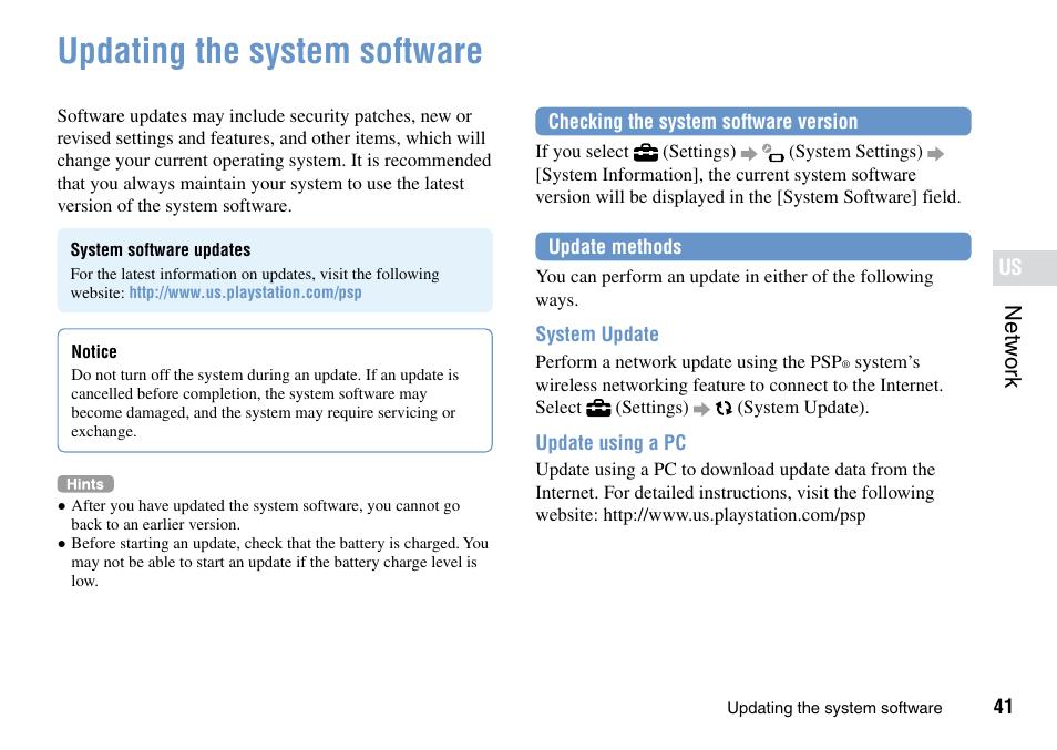 Updating the system software | Sony PSP Go PSP-N1001 User