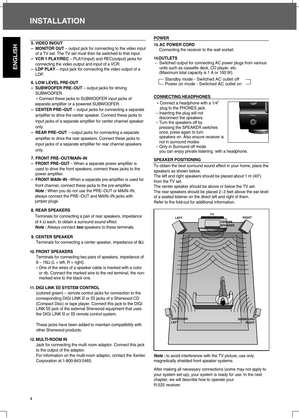 Installation English Sherwood R 525 User Manual Page 4 13 Multi Room Stereo Wiring Diagram